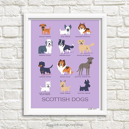 SCOTTISH DOGS art print - new version