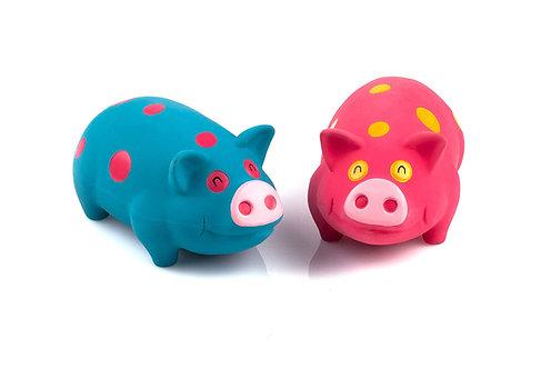 Polka-dot Pigs - grunting latex dog toy