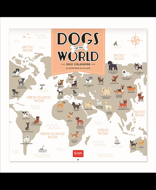 Dogs of the World 2021 wall monthly calendar