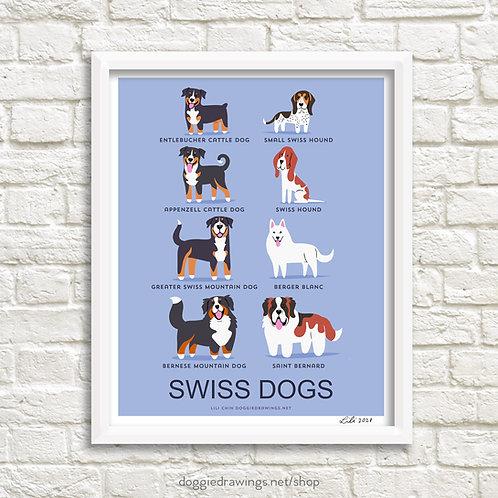 SWISS DOGS art print - new version
