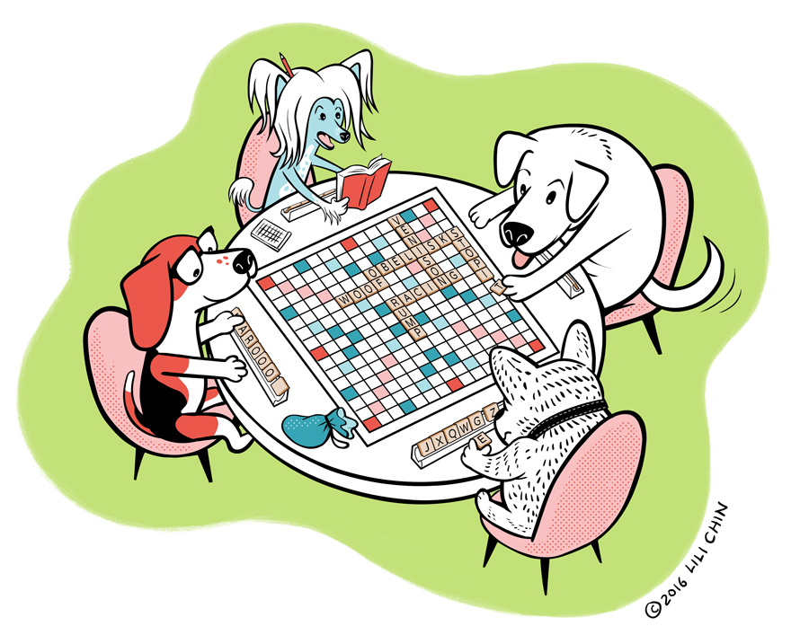 Dogs Playing Scrabble