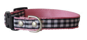 Check Black on Pink Collar