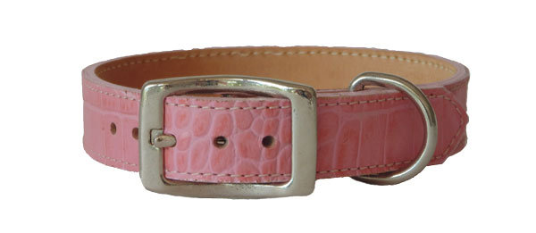 Croc Imprint Straight Collar Pink