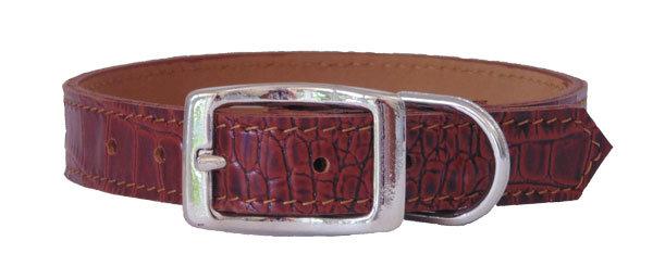 Croc Imprint Straight Collar Brown