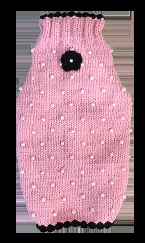 Sweater Pink Pearls & Black Flower