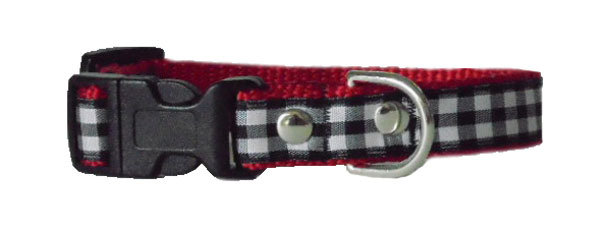 Check Black on Red Collar