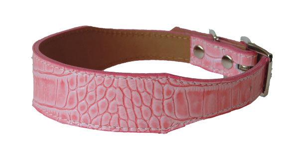 Croc Imprint Tapered Collar Pink