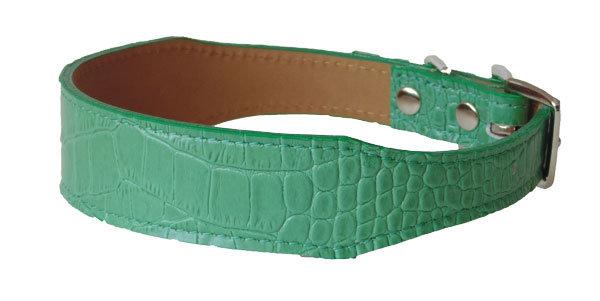 Croc Imprint Tapered Collar Green