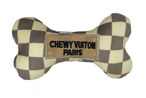 Chewy Vuiton check bone Plush Toy