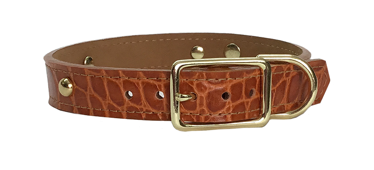 Chestnut Croc Collar with Gold spot