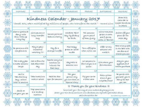 January Kindness Calendar