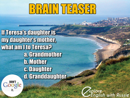 and the new brain teaser is ...