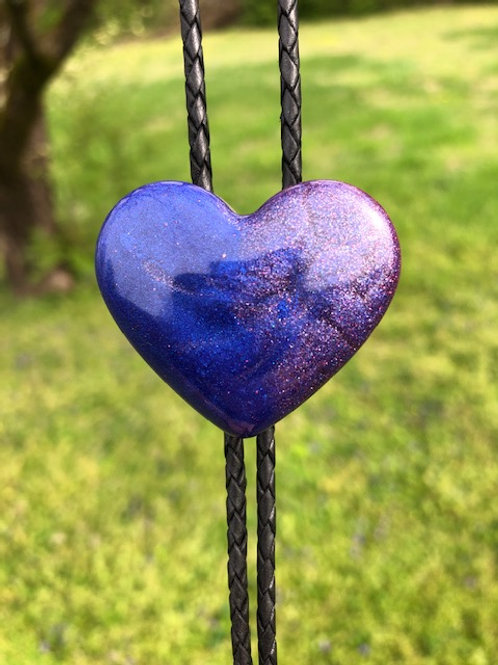 Sparkly blue and Purple Heart bolo