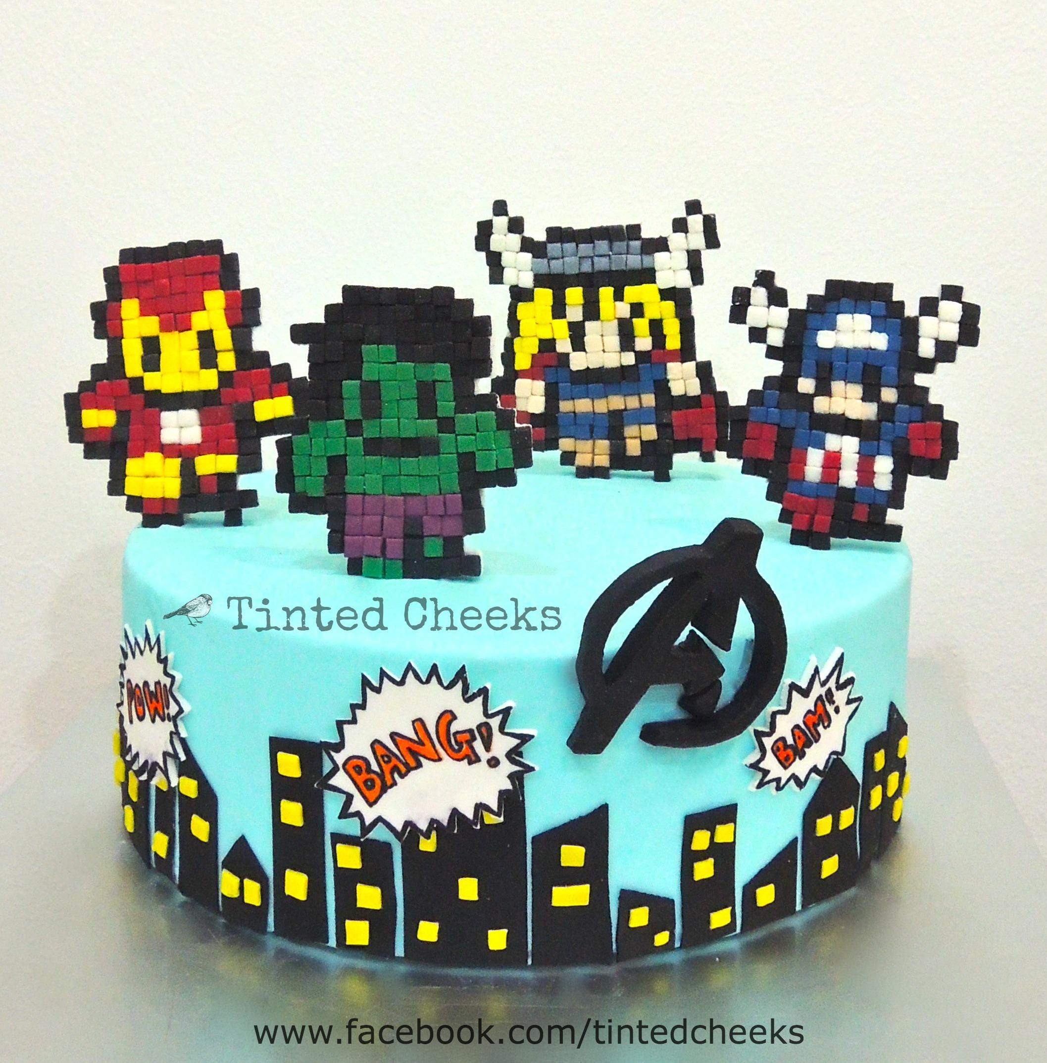 Avengers Pixelated Cake.jpg