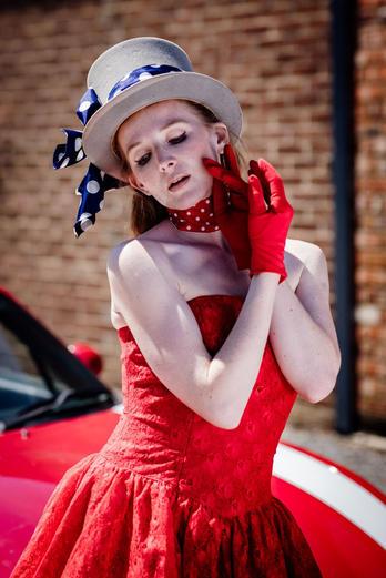 V V Raven image with vintage red lace dress- kick ass stylist at Baythorne Hall