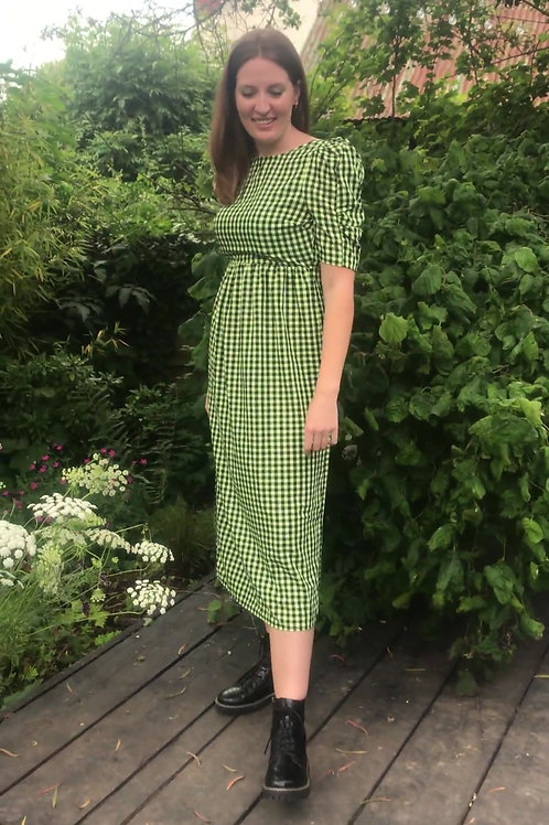 Green/black gingham Prairie dress