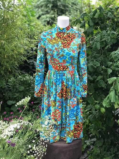 Spectacular vintage turquoise and orange dress
