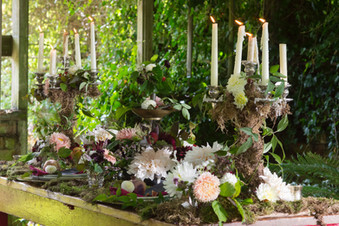 Romantic moss covered wedding tablescape