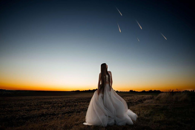 Beautiful night time sunset bride- V V R