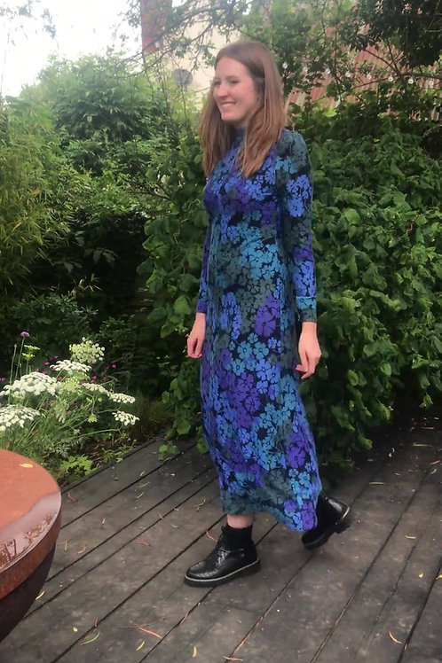 Handmade 1970's  floral lilac and turquoise maxi dress