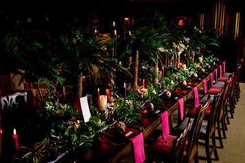 Gothic maximalist tablescape- concept, floral design and styled by Kick Ass Stylist V V Raven. Photographed by @linaandtom