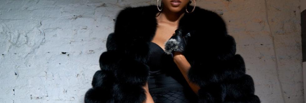 Foxy (Black) crop coat