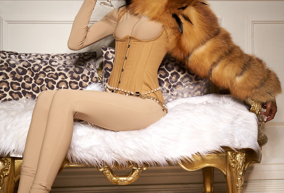 Brown red fox fur sleeve