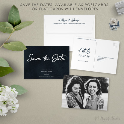 Save The Date | Modern Minimal Floral Wedding Invitation | Addison Fleur by Bojack Studios