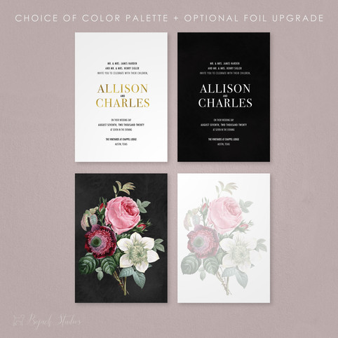 Vintage Floral Foil Wedding Invitations | Allison Fleur by Bojack Studios