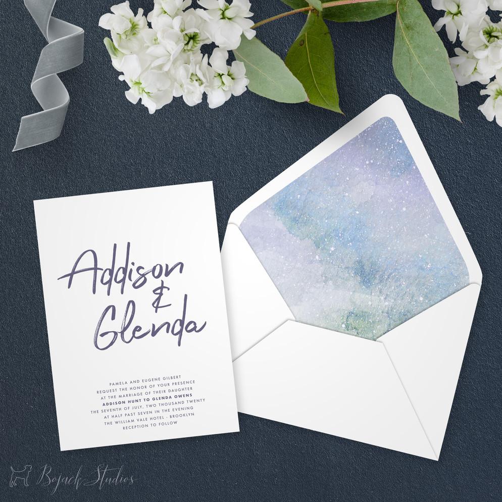 Wedding Invitation   Modern Minimal Floral Wedding Invitation   Addison Graphique by Bojack Studios