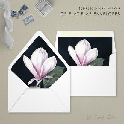 Envelope Options | Modern Minimal Floral Wedding Invitation | Addison Fleur by Bojack Studios