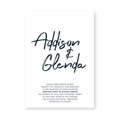 Invitation | Modern Minimal Floral Wedding Invitation | Addison Fleur by Bojack Studios