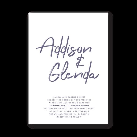 Invite   Modern Minimal Floral Wedding Invitation   Addison Graphique by Bojack Studios