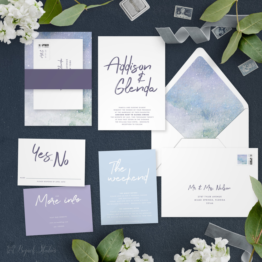 Invitation Suite   Modern Minimal Floral Wedding Invitation   Addison Graphique by Bojack Studios
