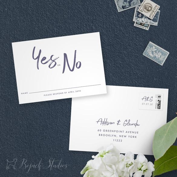 RSVP Card   Modern Minimal Floral Wedding Invitation   Addison Graphique by Bojack Studios