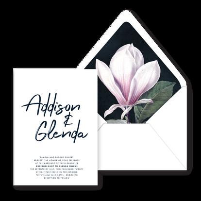 Invite | Modern Minimal Floral Wedding Invitation | Addison Fleur by Bojack Studios