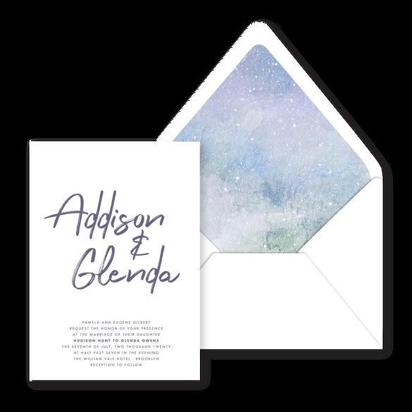 Invitation   Modern Minimal Floral Wedding Invitation   Addison Graphique by Bojack Studios