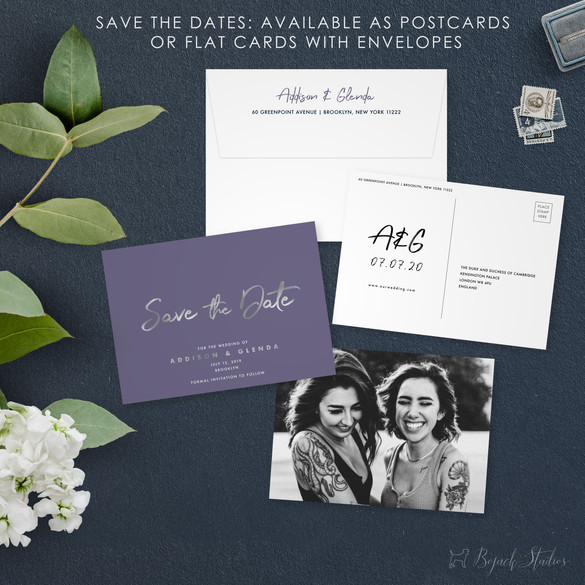 Save The Date | Modern Minimal Floral Wedding Invitation | Addison Graphique by Bojack Studios