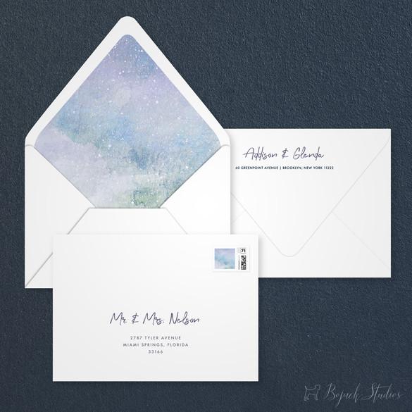 Guest Addressing   Modern Minimal Floral Wedding Invitation   Addison Graphique by Bojack Studios