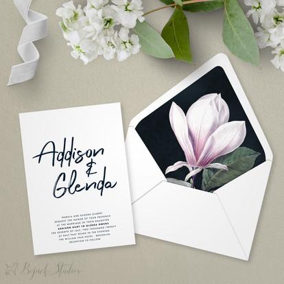 Wedding Invitation | Modern Minimal Floral Wedding Invitation | Addison Fleur by Bojack Studios