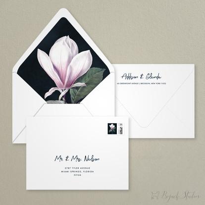 Guest Addressing | Modern Minimal Floral Wedding Invitation | Addison Fleur by Bojack Studios