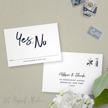 Reply Card | Modern Minimal Floral Wedding Invitation | Addison Fleur by Bojack Studios