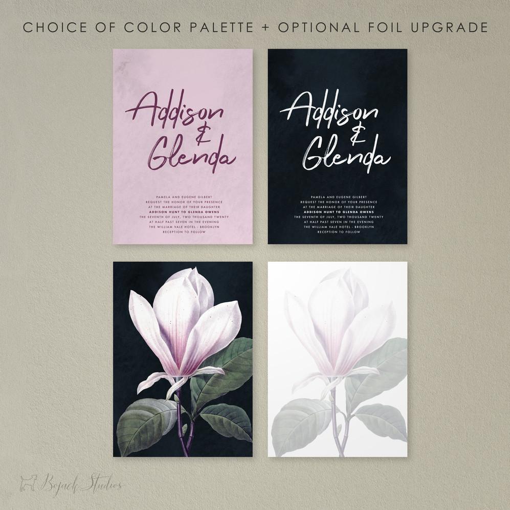 Foil Wedding Invitations | Addison Fleur | by Bojack Studios