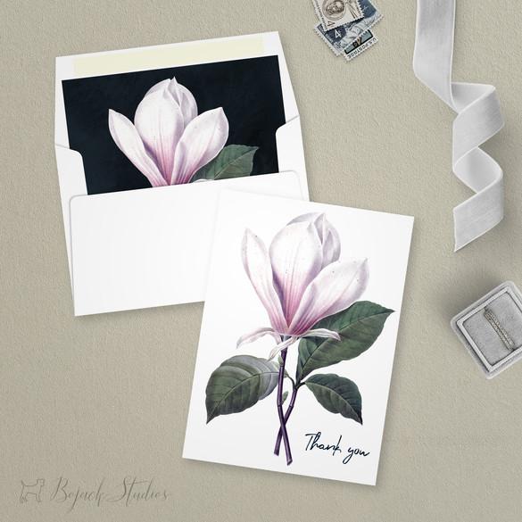 Thank You Card | Modern Minimal Floral Wedding Invitation | Addison Fleur by Bojack Studios