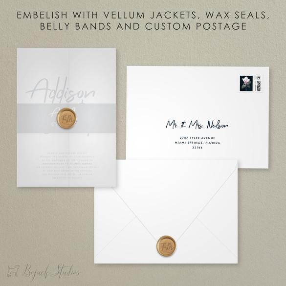 Embellishments | Modern Minimal Floral Wedding Invitation | Addison Fleur by Bojack Studios