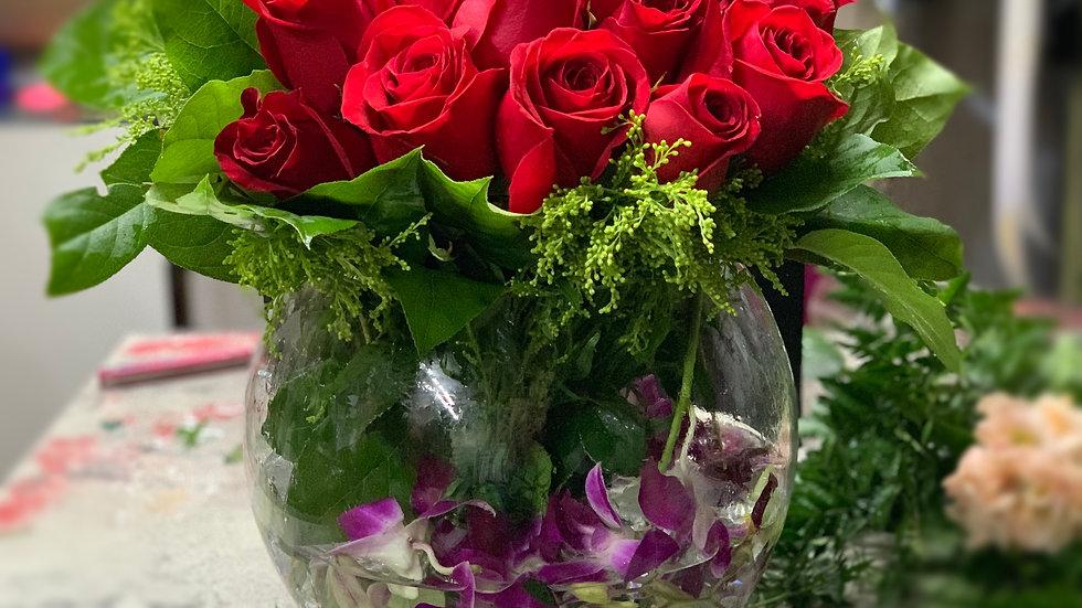 "2 dozen roses  - 10"" fishbowl"