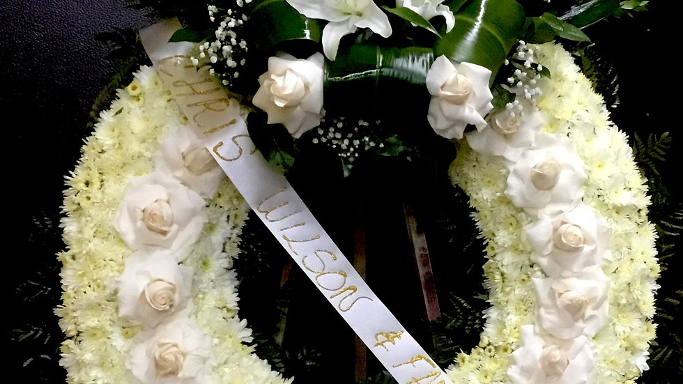 White wreath with leafs