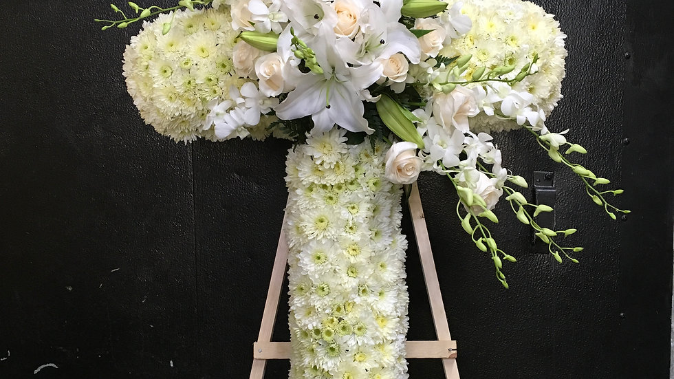 All White Cross with Orchids