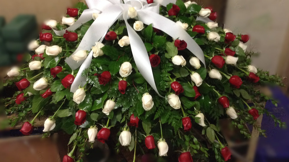 Luxury Half Casket Red and White Roses