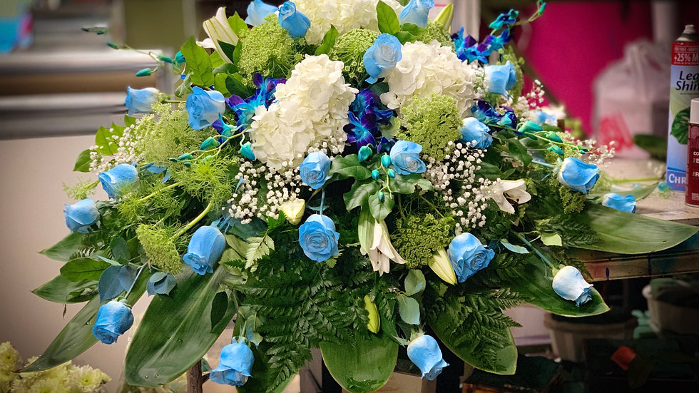 Casket in Turquoise blue and orchids